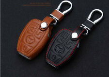 Real Leather Car Key case key chain for Mercedes Benz Car 3 Buttons Red thread