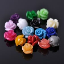 20pcs 10mm Resin Rose Flower Loose Craft Beads Jewelry DIY Findings 20 Colors