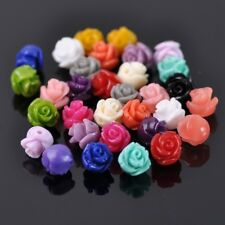 30pcs 8mm Resin Rose Flower Loose Craft Beads Jewelry DIY Findings 20 Colors