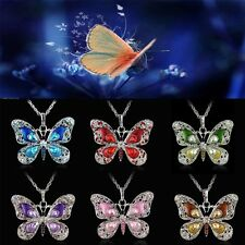 Fashion Women Butterfly Crystal Sweater Chain Charm Pendant Necklace Jewelry New