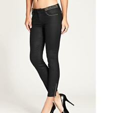 NEW WOMENS GUESS BLACK BRITTNEY CROPPED MID RISE SKINNY JEANS STUDDED WAIST 23