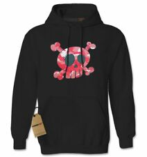 Pink Camo Skull and Crossbones Adult Hoodie Sweatshirt