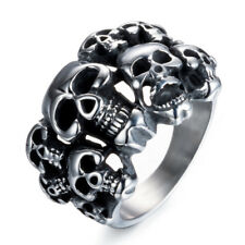 Mens Cool Biker Band Stainless Steel Punk Skull Goth Silver Ring Sz 8/9/10/11/12
