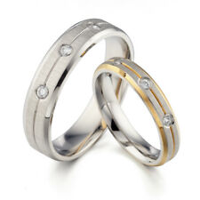 18K Gold Groom&Bride Matching Diamond Wedding Engagement Titanium Rings Set F4