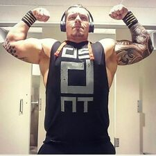 Men Gym Bodybuilding Sleeveless Hoodies Fitness Workout Hooded Tracksuits Tanks
