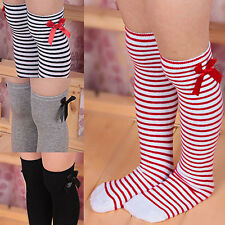 HK- Girls Child Cotton Long Socks Baby Toddler Bowknot Striped Leg Warmers Popul