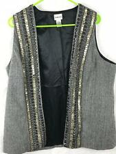 CHICOS Brown Tweed Metallic Embellished Wool Blend Lined Vest Chicos Size 2