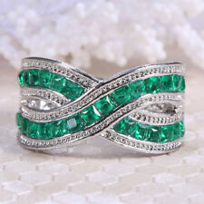 4.3ct Emerald Women 925 Silver Jewelry Wedding Engagement Ring Size 6-10