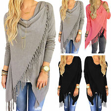 Women Irregular Tassel Cardigan Long Sleeve Outwear Sweater Boho Poncho Knit Top