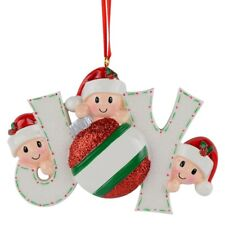 Joy Personalized Christmas Ornament Elves Family of 3-7