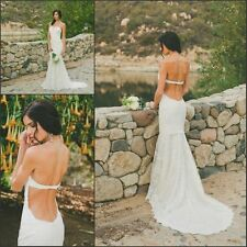Backless Lace Mermaid Bridal Gowns Strapless Sexy Wedding dress Custom Size
