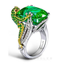 6.8CT Emerald Frog 925 Silver Men Women Jewelry Wedding Engagement Ring Size6-10
