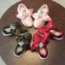 Girl's Child Kids Soft Princess Big Bow Casual Shoes Slip-On School Shoes New