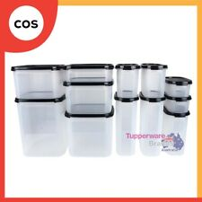 Tupperware 12 Pcs Modular Mates Oval Square Essential Set Black/Red+Mystery Gift