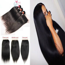 Brazilian Straight Virgin Hair 3 Bundles With Lace Closure Human Hair Extensions