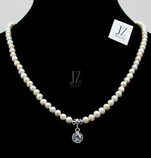 Freshwater Pearl Necklace with Sterling Silver Crystal Pendant & S/Silver Clasp