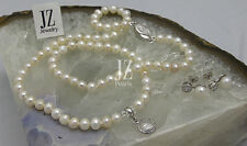 Freshwater Pearl Necklace Bracelet Crystal Pendant S/Silver Clasp.S/S Earrings.