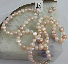 Freshwater Baroque Peach/White Pearl Necklace Bracelet S/Silver Clasp & Studs.