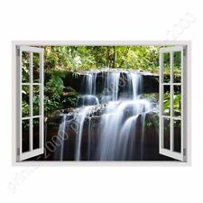 READY TO HANG CANVAS Falls Fake 3D Window Oil Paintings Prints Framed Art