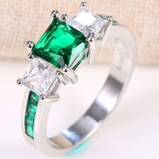 Women Fashion 925 Silver Ring Emerald Gemstone Wedding Ring Size 6-10