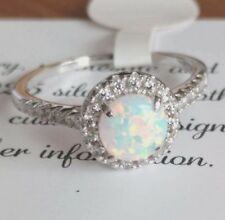 Fire Opal Solid 925 Sterling Silver white gold Gemstone Jewelry Ring
