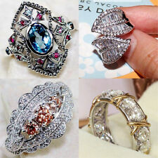 Women Men 925 Silver Jewelry 	Gemstone  Wedding Engagement Party Ring Size 6-10