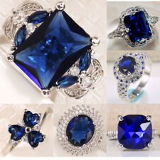 Nobby Tanzanite Women 925 Silver Wedding Engagement Anniversary Ring Size 6-10