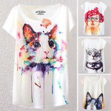 Womens Girls Cute Cat Graphic Paint Round Neck Short Sleeve Casual T-shirt Top