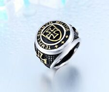Mens Gothic Knigh Cross Ring Silver Gold Stainless Steel Biker Jewelry Ring Band