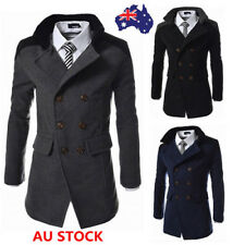 Men Double Breasted Fur Warm Overcoat Trench Parka Business Coat Jacket Outwear