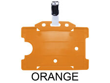 Orange ID Badge Card Holder Work Pass Single Sided Landscape & Metal Clasp Clip