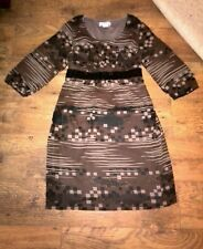 Bonprix Collection Dress brown black with 3/4 sleeves sz 16