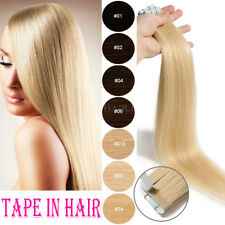 Blonde Silky Tape In Skin Weft 100% Real Virgin Remy Human Hair Extensions I818