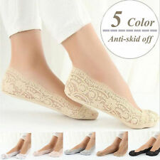 Fashion Womens Cotton Blend Lace Antiskid Invisible Low Cut Socks Toe Ankle Sock