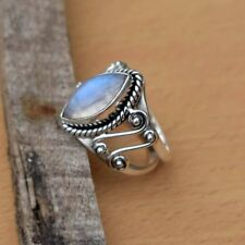 925 Silver Beautiful Moonstone Gems Wedding Anniversary Party Gift Ring Size6-10