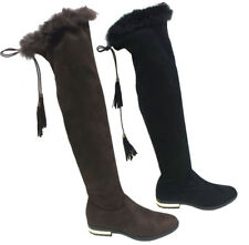 New Women Over Knee High Fashion Fur Top Lace Up Flats Long Thigh Boots