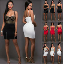 Women 2 Piece Bodycon Crop Top and Skirt Set Lace Up Party Club  Bandage Dress