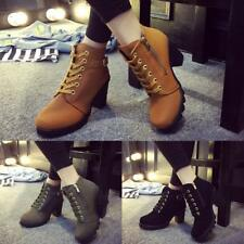 Fashion Women Lace Up Platform Block High Heel Ankle Boot Size 35-40 WST 02