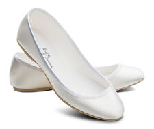 White Satin Bridesmaids Flower Girls Wedding Communion Pumps Flats Shoes LUCY