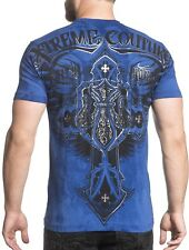 XTREME COUTURE by AFFLICTION Men T-Shirt LOCKDOWN Wings Cross Biker UFC $40