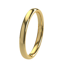 New 18ct 750 Yellow Gold 2mm Court Shape Wedding Ring Band Solid & UK Hallmarked