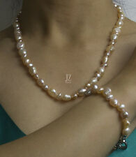 Freshwater Bridal Baroque Peach & White Pearl Necklace Bracelet S/S Clasp Set.