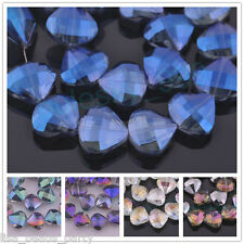 5pcs 20x18mm Faceted Crystal Glass Charms Triangle Shell Loose Spacer Beads Lots