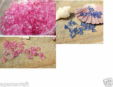 40 Pink or Blue Acrylic Lucite Flower Beads Clear Transparent 7x12mm Craft new