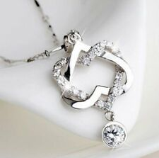 Hot Solid Silver Plated Double Heart Pendant Necklace Womens Jewellery Gifts
