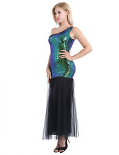 Women's Long Sequins Mermaid One Shoulder Formal Evening Party Maxi Dresses Prom