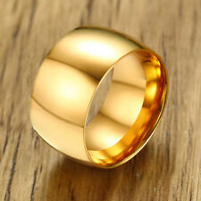 Simple Mens Gold Stainless Steel Band Ring Jewelry Finger Ring Size 9-12