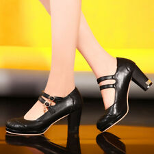 Double Buckle Strap Womens Thick Heel Lace Mary Jane Pump Shoes