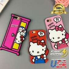 Cartoon 3D Hello Kitty Soft Silicone Phone Case Back Cover For iPhone 8 7 Plus