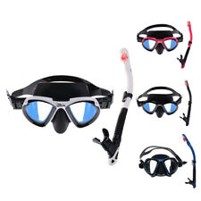 Scuba Silicone Large Frame Goggles Mask & Dry Snorkel Set Swimming Diving